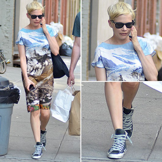 michelle-williams-carven-printed-dress-mountains-sneakers