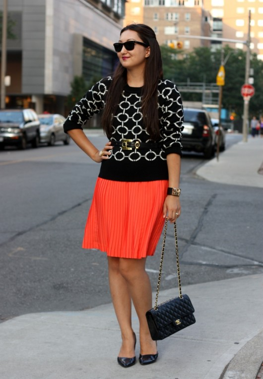 orange-pleated-skirt-