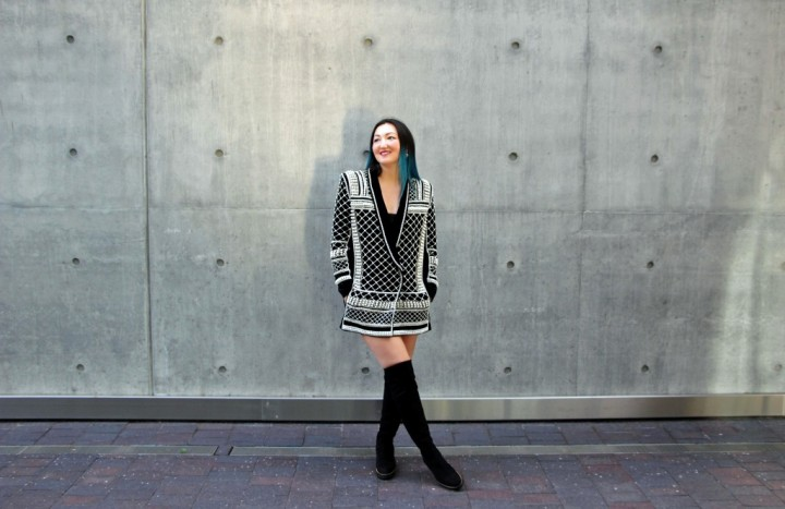 balmain-h&m-beaded-jacket-blazer-dress-over-the-knee-la-canadienne-boots-6