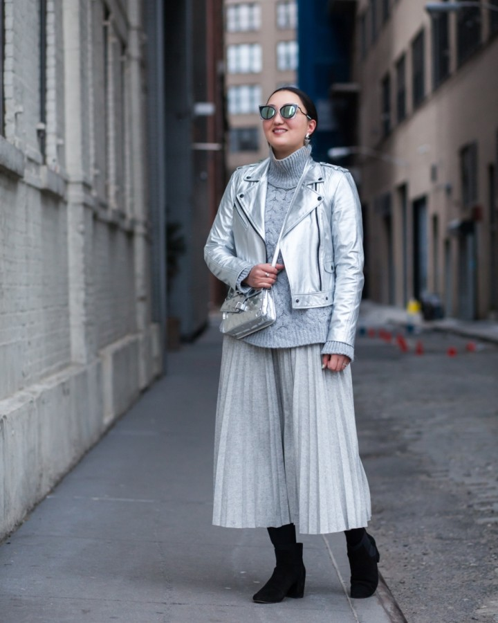 silver-leather-jacket-midi-pleated-skirt-oak-fort-2